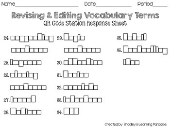 Revising & Editing QR Code Vocabulary Station