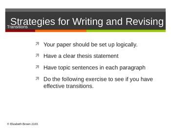 Revising Essays - Paragraphs