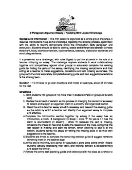 Revising Mini Lesson & Activity - Argument Writing