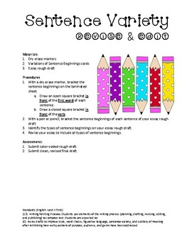 Essay Revision: Ratiocination (color coding) for Sentence Variety