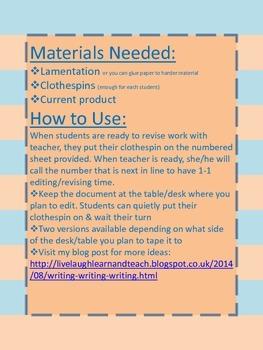 Revising Student Writing--Teacher Organization