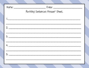 Revising Task Cards- Sentences- Set One