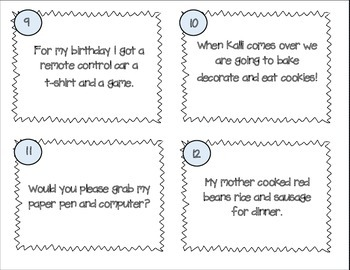 Revising Task Cards- Set Five- Commas in a Series