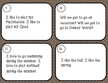 Revising Task Cards- Set Four- Combining Sentences