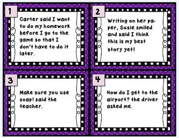 Revising Task Cards-  Set Three- Quotation Marks