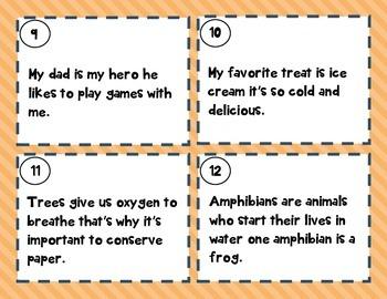 Revising Task Cards-  Set Two- Run-On Sentences