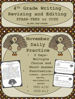 """STAAR-Revising and Editing Daily Practice-November """"Pass the Stuffing"""""""