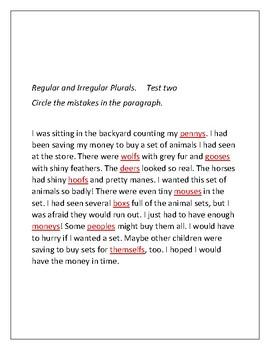 Revising and Editing Part 4- Regular and Irregular Plurals