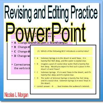Editing And Revising Powerpoint Worksheets Teaching