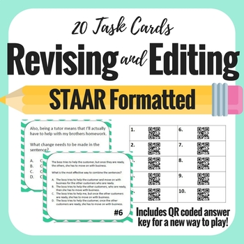 Revising and Editing STAAR formatted - 20 task cards