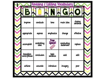 Revising and Editing Vocabulary Bingo (4th & 7th Grade Texas STAAR)