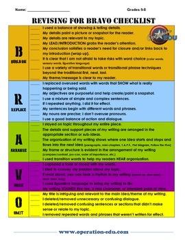 Revising for Bravo - 6-8 Revising Checklist