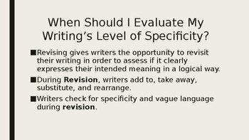 Revising for SPECIFIC Word Choice Strategies Lesson Writers Workshop Peer Review