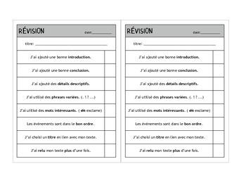 Revision, Correction et Conference checklists - Writing process (en français)