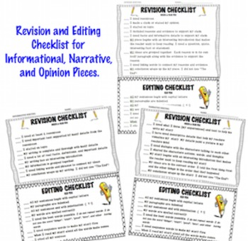 Revision & Editing Checklists for Students ~ Informational, Narrative, Opinion