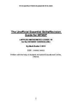 Revision Guide for Applied Maths 10 in Ontario ( MFM2P)