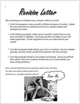ESSAY WRITING Revision Letter Activity