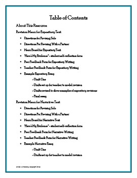 Revision Menus for Expository and Narrative Texts