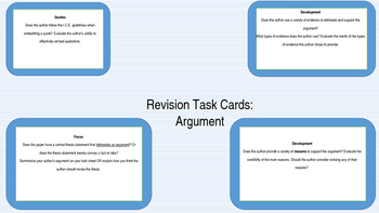 Revision Station Task Cards for Argument Writing
