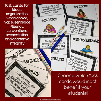 Revision Task Cards for Literary Analysis Essays