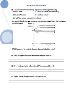 Revision Worksheet for Cells in Action Test - Senior Biology