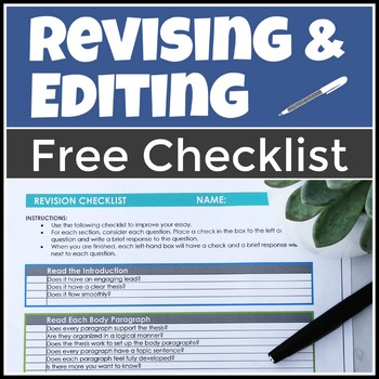 Free Checklist for Revising and Editing Student Essays