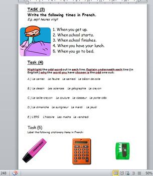 L'heure et l'école - revision activities