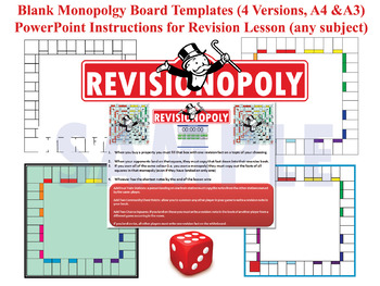 Revisionopoly Monopoly Style Board Game Templates With PPT Instructions AfL