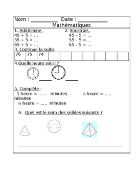 Révisions de math Mai - Math daily review