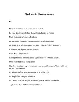 Revolution Francaise  (French Revolution) Match 'em in French