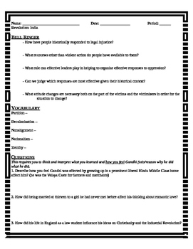Revolution: India - Gandhi Lesson plan/ worksheet