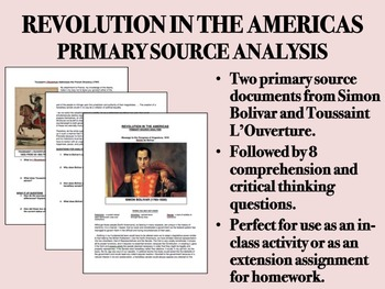 Revolution in the Americas Primary Source Analysis-Bolivar, L'Ouverture