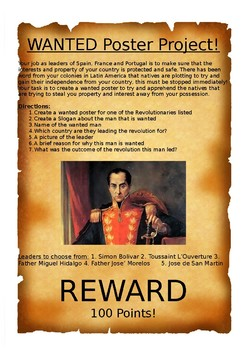 Revolutionaries Wanted Poster Project