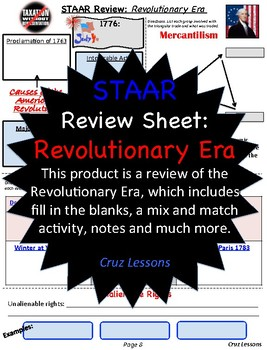 Revolutionary Era, STAAR Review Sheet