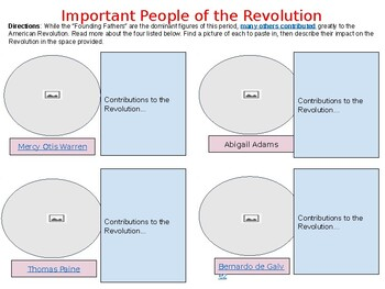 Revolutionary Leaders Scavenger Hunt (week 8 lesson plans)