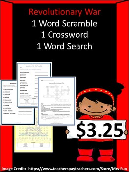 Revolutionary War - 1 Word Search, 1 Word Scramble & 1 Crossword