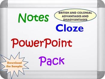 Revolutionary War Advantages and Disadvantages Pack (PPT,