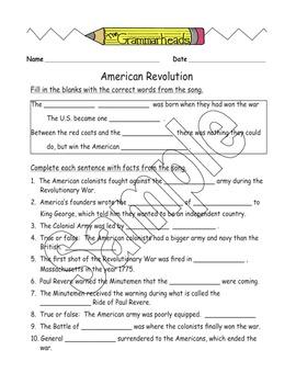 Revolutionary War - American Revolution - Worksheet Packet