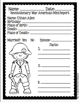 Revolutionary War Americans Mini-Reports