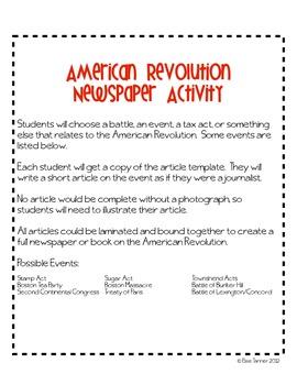 Revolutionary War Article Activity