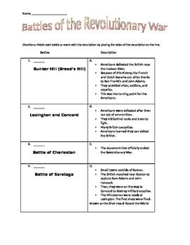 Revolutionary War Battles Matching Worksheet