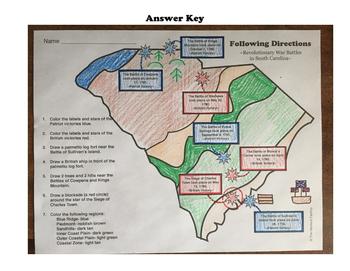 Revolutionary War Battles in South Carolina: A Following Directions Activity