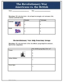 Revolutionary War British and American Strengths Worksheet