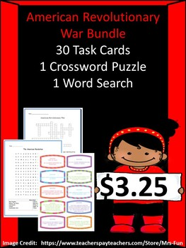 Revolutionary War Bundle- 30 Task Cards, 1 Word Search & 1 Crossword Puzzle