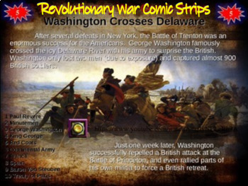Revolutionary War Comic Strip Activity: visually engaging PPT with hyperlinks