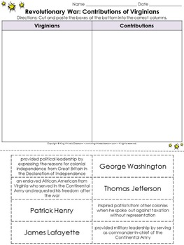 Revolutionary War: Contributions of Virginians Cut and Paste Activity