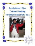 Revolutionary War Critical Thinking: Virginia Studies SOLs 5abcd