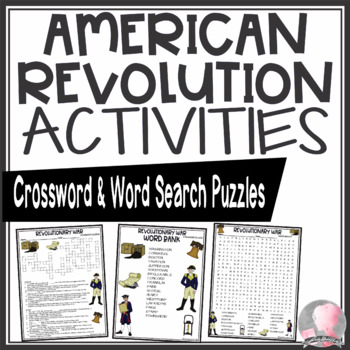 American Revolution Activities Crossword Puzzle and Word Search Find