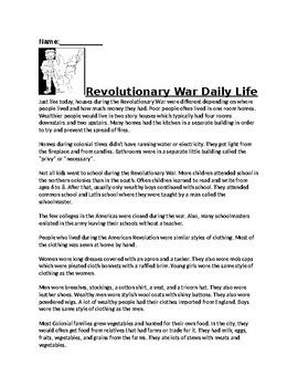 Revolutionary War Daily Life Assignment
