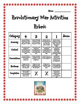 Revolutionary War Differentiated Activities